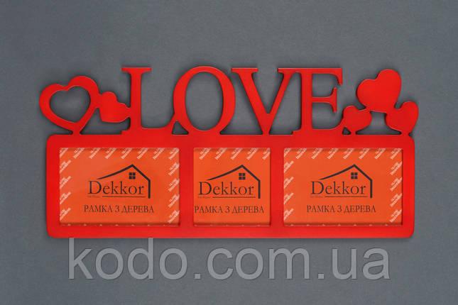 """Фоторамка мультирамка коллаж """"Love"""" из Дерева на 3 фото 10х15 см и 10х10 см, фото 2"""