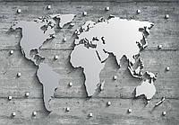 Фотообои 3D 368x254 см Карта мира, континенты из стали (10420CN)