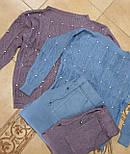 Женский теплый кашемировый качественный вязаный костюм с жемчугом серый, капучино, голубой, фото 7