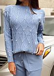 Жіночий теплий кашеміровий якісний в'язаний костюм з перлами сірий, капучіно, блакитний, фото 6