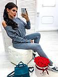 Женский теплый кашемировый качественный вязаный костюм с жемчугом серый, капучино, голубой, фото 4