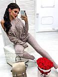 Женский теплый кашемировый качественный вязаный костюм с жемчугом серый, капучино, голубой, фото 3