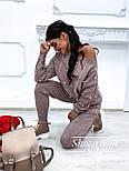 Женский теплый кашемировый качественный вязаный костюм с жемчугом серый, капучино, голубой, фото 2