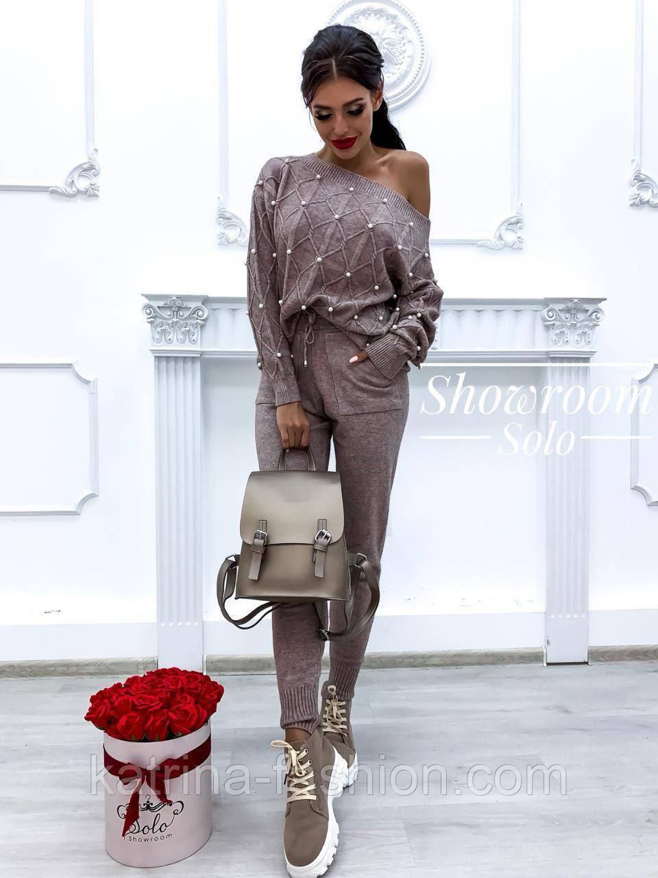 Жіночий теплий кашеміровий якісний в'язаний костюм з перлами сірий, капучіно, блакитний