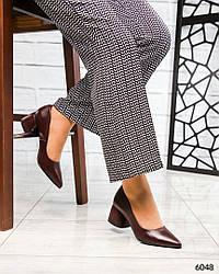 Туфли на среднем каблуке, нат. кожа марсала