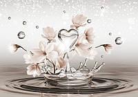 Фотообои 3D магнолии (плотная бумага 368х254 см) Сердце на воде с цветами  (CN3492)