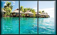 Фотообои 3D природа, море 368х254 см : Вид с окна на бунгало (497CN)