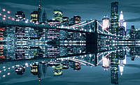 Фотообои город Нью-Йорк (бумага, флизелин) 368х254 см : Бруклинский мост  сияет (3022P8CN)