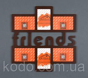 "Фоторамка мультирамка коллаж ""Friends"" из Дерева на 6 фото 10х15"