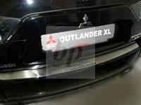 Защитная хром накладка на задний бампер (планка без загиба) mitsubishi outlander xl (митсубиси аутлендер 2006)