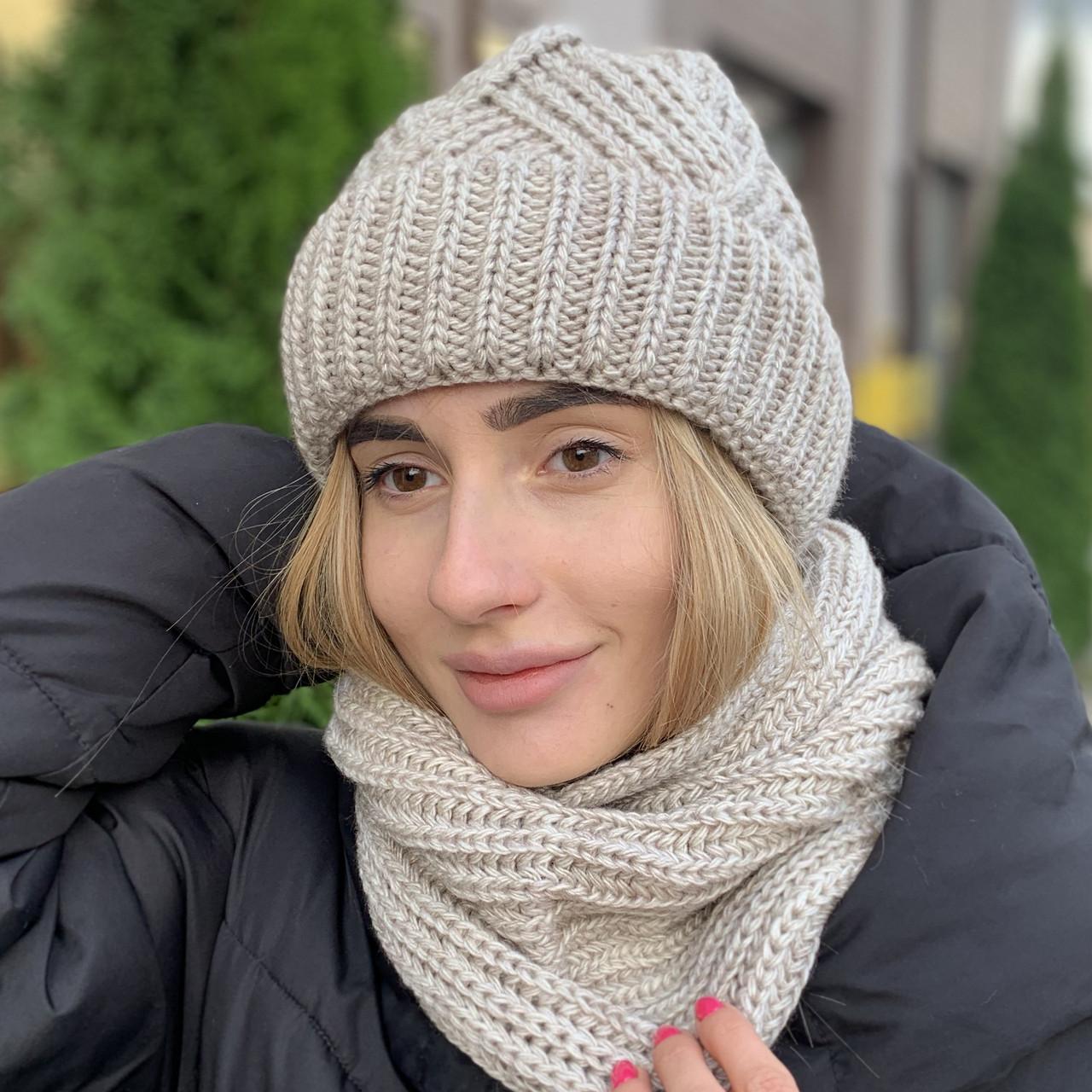 "Молодежная шапка ""Монтана"" с отворотом лен"