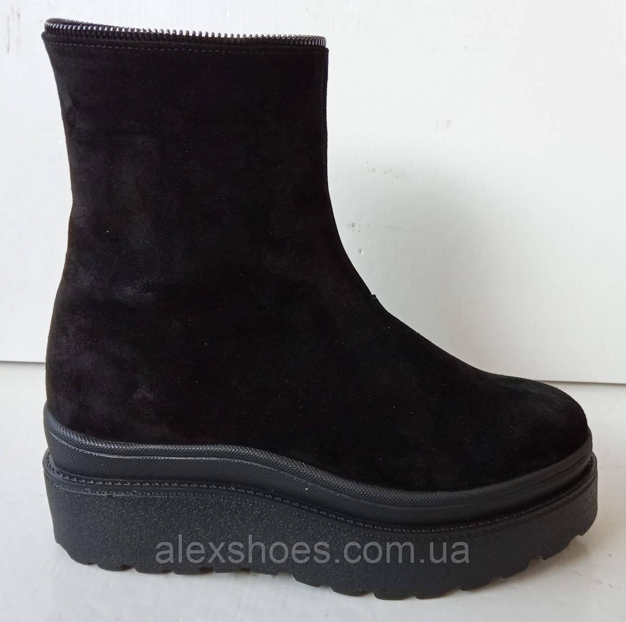 Ботинки молодежные зимние на толстой подошве из натуральной замши от производителя модель ДИС756-2