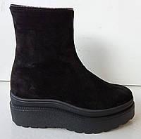 Ботинки молодежные зимние на толстой подошве из натуральной замши от производителя модель ДИС756-2, фото 1