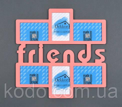 "Фоторамка мультирамка коллаж ""Friends"" из Дерева на 6 фото 10х15, фото 2"
