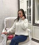 Женский теплый объемный  свитер  под горло крупной вязки (разные цвета), фото 8