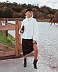 Женская короткая шуба из кролика рекса с воротником - стойкой 14rv54, фото 3