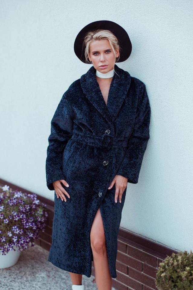 Женская шуба - Пальто из искусственного меха каракуль 14rv55