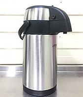 Термос 4,5 литра помповый вакуумный со стальной колбой, фото 1