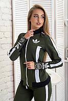 Женский теплый спортивный костюм на молнии с начесом и надписями черный зеленый 42 44 46, фото 1