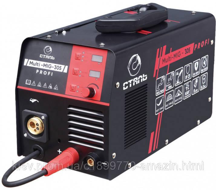 Зварювальний напівавтомат СТАЛЬ Multi-Mig-305 Profi (Інверторний) (89492)