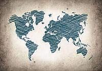 Фотообои флизелиновые 368x254 см Карта мира, граффити (10010)