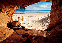 Фотообои 3D природа, море 254х184 см : Вид на пляж из пещеры (10263CN)