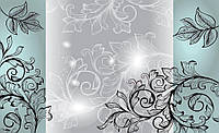 Фотообои цветы 368х254 см : Листочки на серо-зеленом фоне (1445CN)