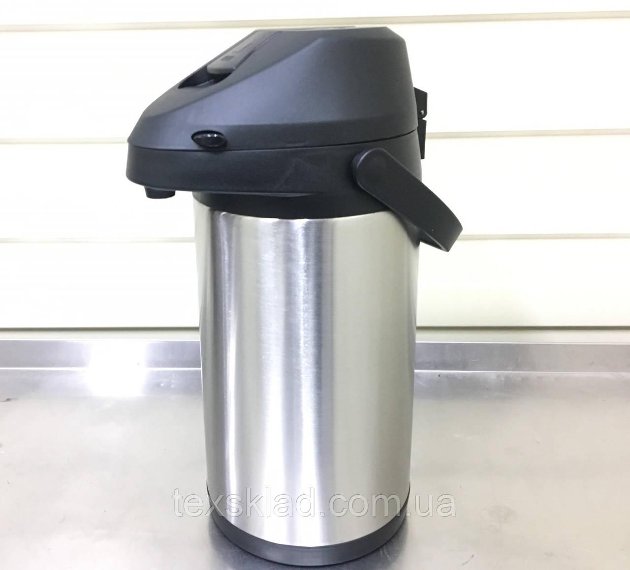 Термос 4,0 литра помповый вакуумный со стальной колбой Eco new