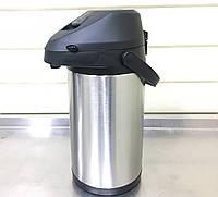 Термос 4,0 литра помповый вакуумный со стальной колбой Eco new, фото 1