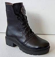 Ботинки женские зима на широком каблучке из натуральной кожи от производителя модель ДИС721, фото 1