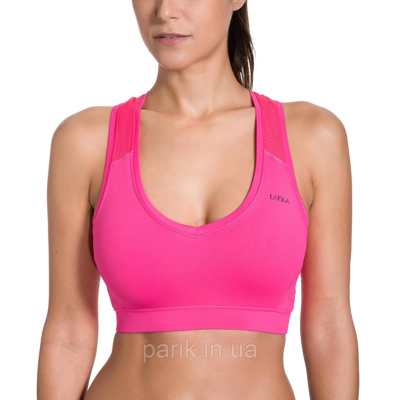 Спортивный топик топ лиф для фитнеса розовый LAISLA (XXL) №40p Спортивные топы топики