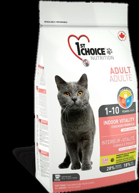 Сухой корм для кошек 1st Choice Adult Indoor Vitality Chicken с курицей 2,72 кг