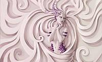 Фотообои 3D фигуры 368х254 см Белые узоры и женщина в фиолетовом  (3044.20630)