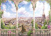 Фотообои 3D город виниловые с блеском 312х219 см : Арка в Париже (11417P8CN)