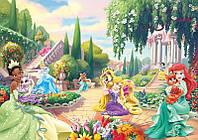 Фотообои детские для девочки Дисней (винил с блеском 312х219 см) Принцессы  и их любимцы (2488CN)