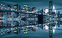 Фотообои виниловые город Нью-Йорк 416х254 см : Бруклинский мост сияет  (3022P8CN)