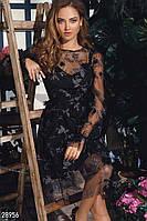 Вечернее платье-сетка с декором и напылением черное