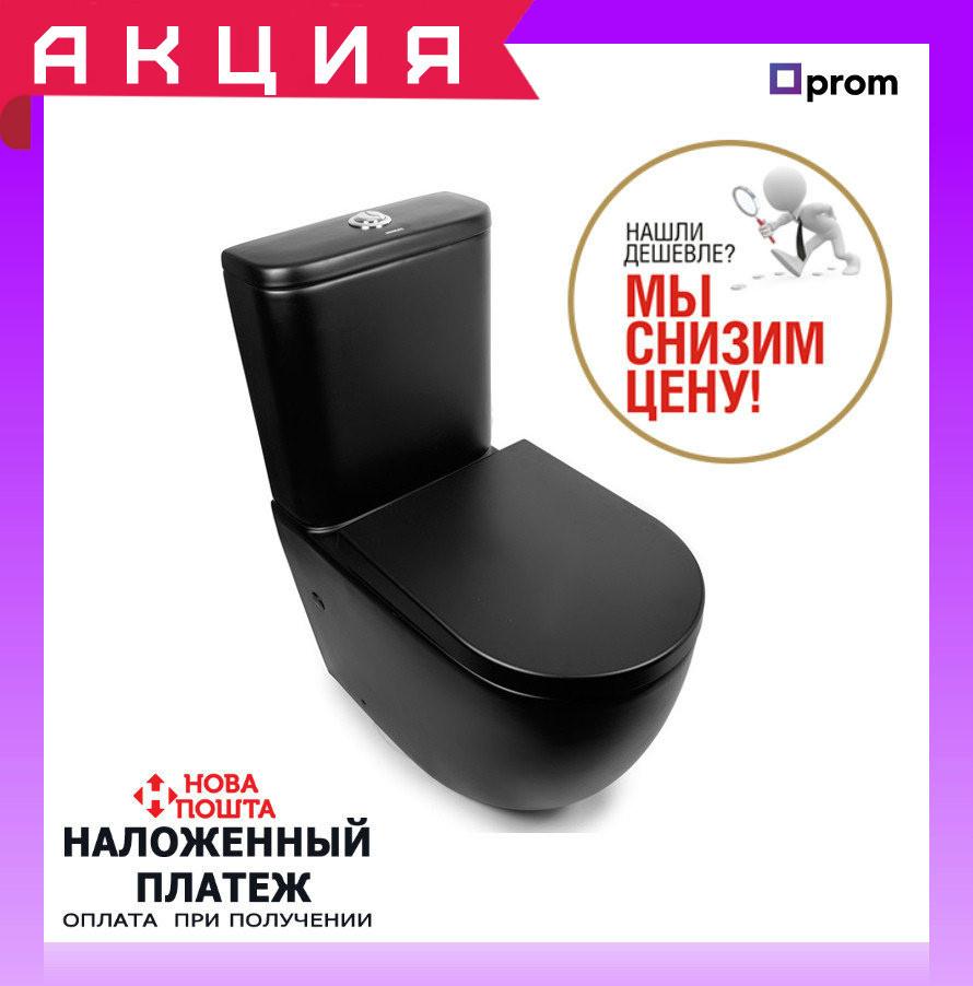 Напольный унитаз-компакт с сиденьем Newarc 3822B-M черный матовый