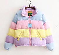 Женская яркая короткая демисезонная куртка в полоску на силиконе 42 44 46
