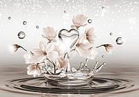 Фотообои 3D магнолии (флизелиновые 312х219 см) Сердце на воде с цветами  (CN3492)