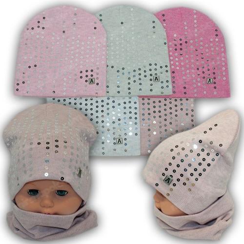 Комплект детский шапка и шарф хомут осенний р. 46-48