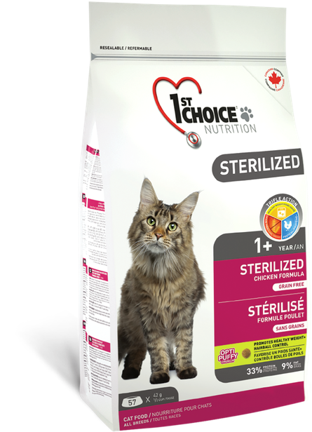 Сухой беззерновой корм для кастрированных и стерилизованных кошек 1st Choice Sterilized 5 кг