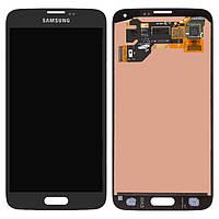Дисплей Samsung G900 Galaxy S5, черный, с сенсорным экраном, оригинал (переклеено стекло)