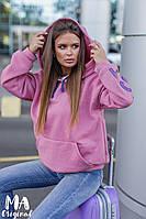 Женский зимний теплый батник с карманом и капюшоном с надписями красный беж белый розовый 42-52, фото 1