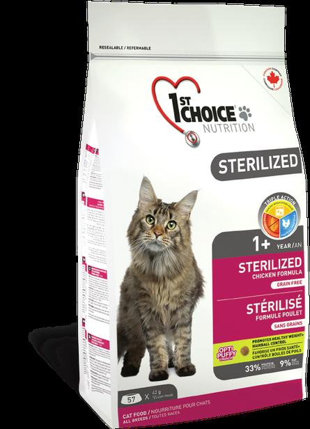Сухой беззерновой корм для кастрированных и стерилизованных кошек 1st Choice Sterilized 10 кг
