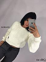 Женский укороченный свитер из объемной вязки 82ddet634