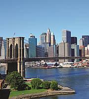 Фотообои флизелиновые 3D город 225х250 см Нью-Йорк, Бруклинский мост  (MS-3-0001)
