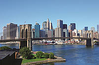 Фотообои флизелиновые 3D город 375х250 см Нью-Йорк, Бруклинский мост  (MS-5-0001)