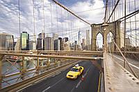 Фотообои флизелиновые 3D город Нью-Йорк 375х250 см Такси на мосту  (MS-5-0004)