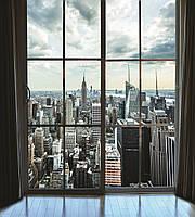 Фотообои флизелиновые 3D город Нью-Йорк 225х250 см Вид с окна на Манхэттен  (MS-3-0009)
